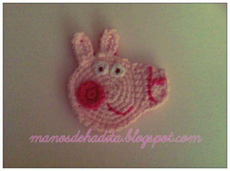 Manos de hadita: Aplique de Peppa Pig a crochet