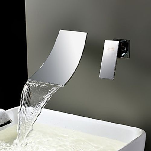 Waterfall Widespread Contemporary Bathroom Sink Faucet (Chrome Finish) - FaucetSuperDeal.com