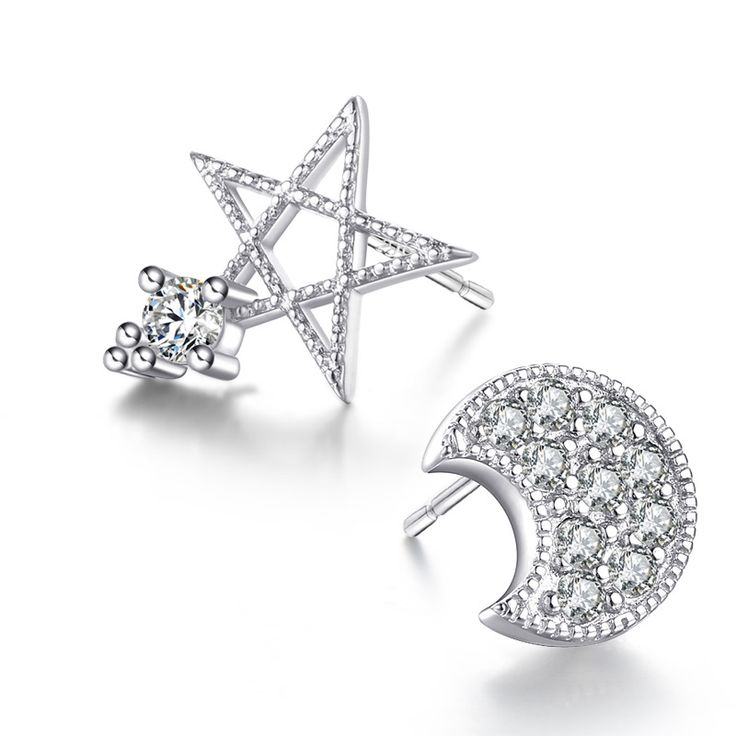 Hot Sale Promotion 2017 New Fashion Star and Moon Shiny Zircon Design 925 Sterling Silver Stud Earrings for Women Jewelry Gift