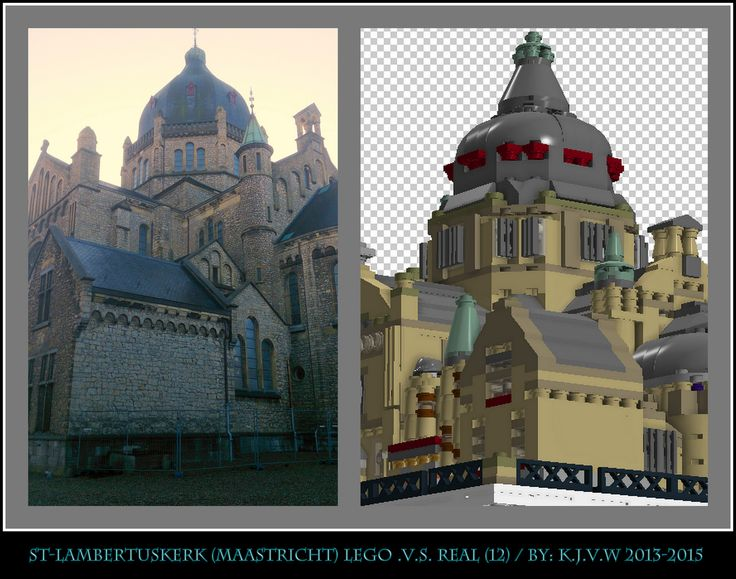 [ st-lambertuskerk lego .v.s. real part 12 ]    12 of the 19 photo's from my collage of St-Lambertuskerk (Maastricht) ((Non-lego))
