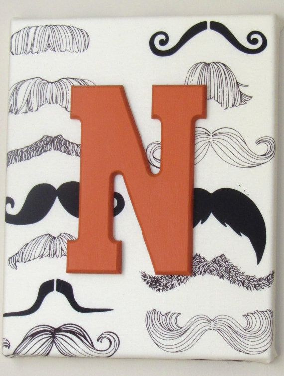 8x10 Black and Ivory Mustache Custom Name Decoration for Nursery, Boys' Room on Etsy