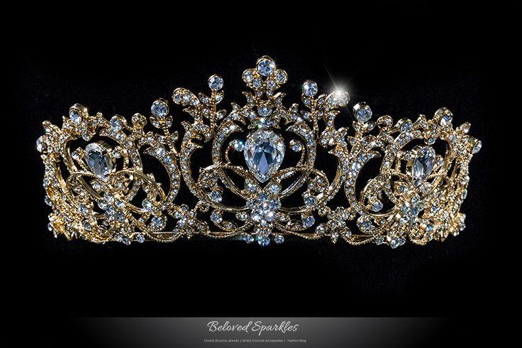 Lucia Victoria Statement Tiara   Gold   Swarovski Crystal