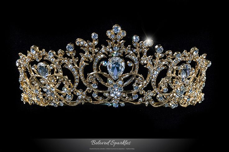 Lucia Victoria Statement Swarovski Crystal Gold Tiara. Description: This Victorian Gold Art Deco Royal Bridal tiara is created with best quality sparkling Swarovski Crystal. A beautiful crown design t