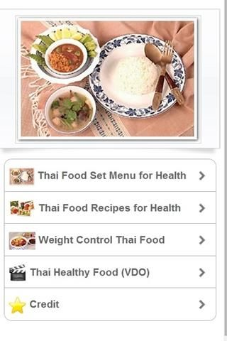 This application shows the information about  healthy thai foods. Thai food is the cultural heritage that represents the Thai nationality and presently very popular worldwide. It is outstanding in term of tastes, high nutritional values and the diverse of herbs and spices that useful for health.In general, control of weight could be managed by limitation of calories gained from food. Thai food is appropriate for weight control because the consumption pattern is in set. Since there are mor...