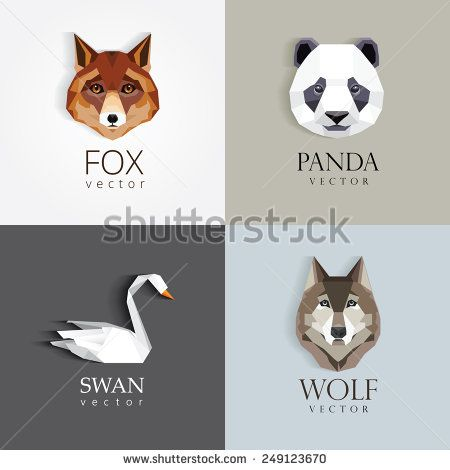 trendy low polygon style animal logos for business visual identity -swan, fox, panda bear and wolf- modern geometric triangular style - stock vector