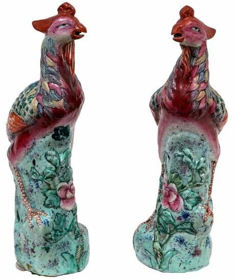 Pair of 19th c. Chinese Mythological Porcelain Hand Painted Birds – 12″H x 3″W – ID# 2156 – $3,250.00 (Villa Melrose) #antiques #sculptures