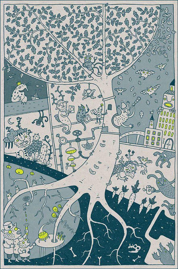 Felix Dankevitch  Poster for the teenager`s cartoon club. Felt pens, Wacom digitizer, 2015