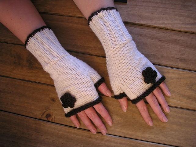 hand knitted black flower gloves