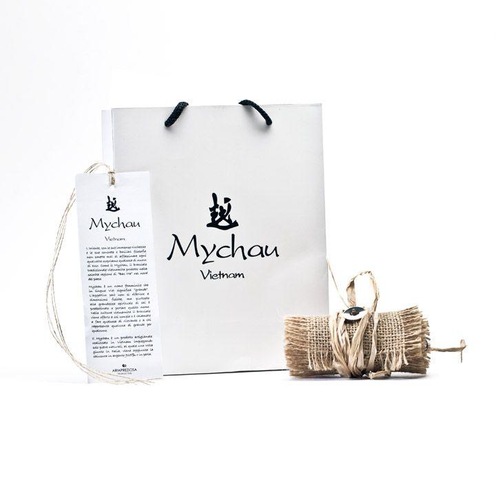 Mychau Silver - Bracciale realizzato in Argento 925‰ (galvanica) e pietre naturali. Packaging
