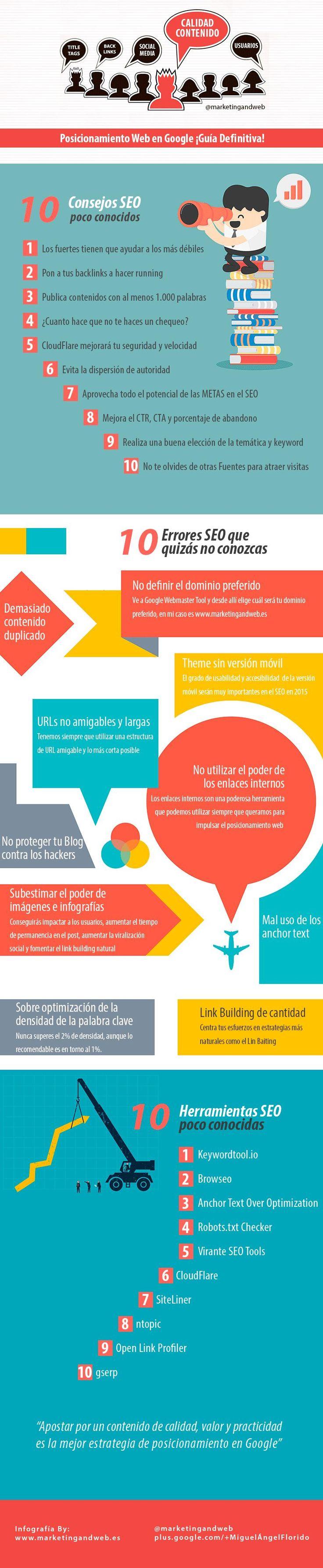 Una excelente infografía en español con consejos y técnicas, la mayoría poco conocidas, para mejorar el posicionamiento web en el gigante de las búsquedas.