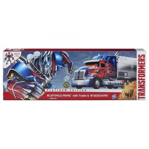 Hasbro Transformers Age of Extinction Platinum Edition First Edition Optimus Prime with Trailer & Cherry Red Sideswipe   Hasbro Transformers Age of Extinction Platinum Edition First Edition Optimus Prime with Trailer & Cherry Red Sideswipe ...