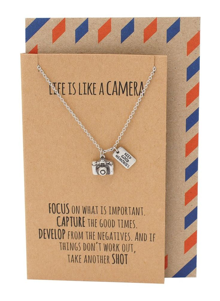 Ida Life is Like a Camera Inspirational Jewelry, Camera Necklace, Birthday Gift, Thank You Card, Camera Pendant, Silver Tone - Quan Jewelry - 1