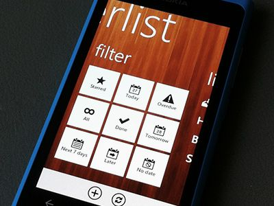 Windows Mobile Wunderkinder UI  Good mix between WK textured universe & Windows Mobile uncluttered style