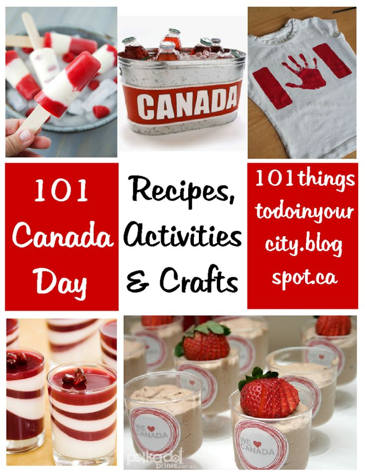 1. wear red and white to show your pride 2. or get the tutorial for this cute Canada Day shirt from the workmanfamily 3. Watch the Canada Day Parade 4. Get the recipe for these raspberry cheesecake popsicles from the novice chef 5. grab a lawnchair or a picnic blanket and stake out a good spot to watch the fireworks 6. Make this recipe for Pomegranate lemon panna cotta from use real butter 7. Make your own Canada Day wreath or you can buy this one from HeartFeltYarnWreaths on etsy 8. dip…