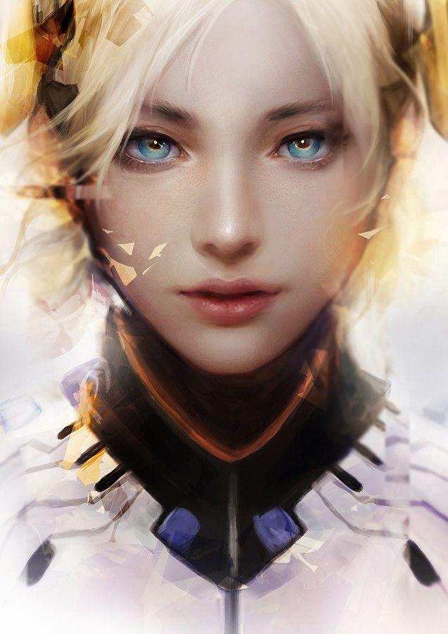rainbow in your eyes | gamiing-art:   Overwatch Fanart : Mercy & D.Va...