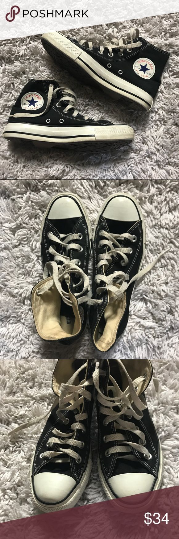 Black High Top Converse Good Condition! Has some wear Converse Shoes