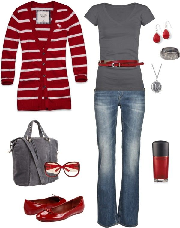 fall redColors Combos, Fashion, Red, Style, Day Outfit, Clothing, Grey, Cute Outfit, Belts