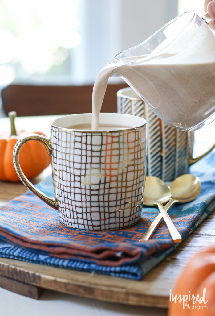 Add a little seasonal spice to your morning brew with this Homemade Pumpkin Spice Coffee Creamer. Glam it up with gold mugs from HomeGoods. *sponsored pin*