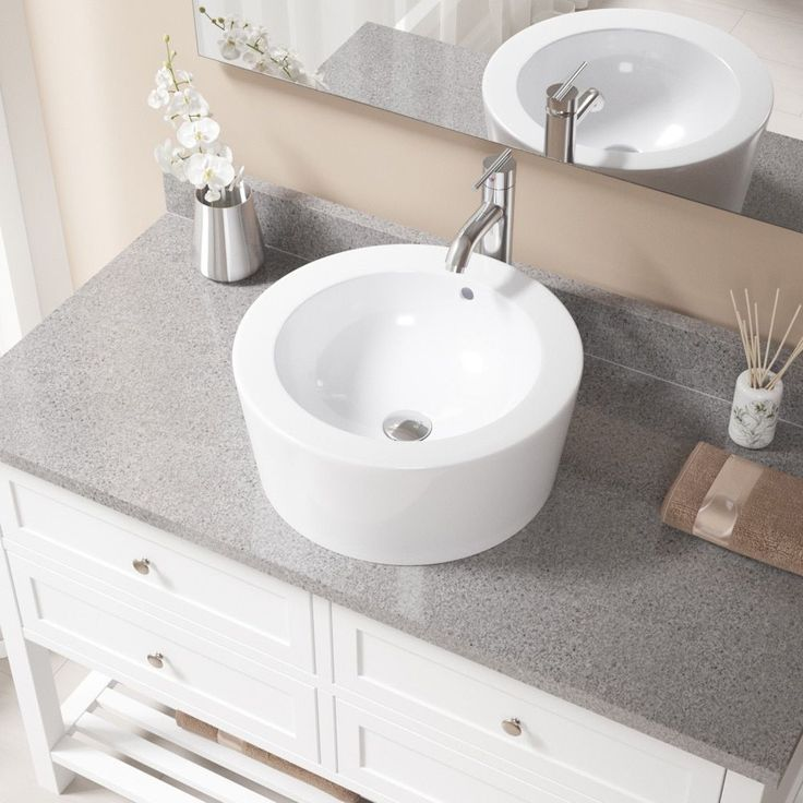 MR Direct V1902 White/Chrome (Grey) Porcelain Sink With Faucet And Pop