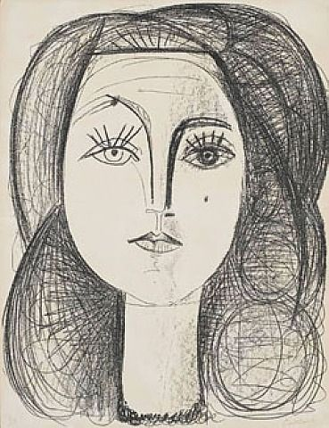 Francoise (M45)  	by	Pablo Picasso  	 	 1946  	 #Prints  	 #Lithograph on Arches paper