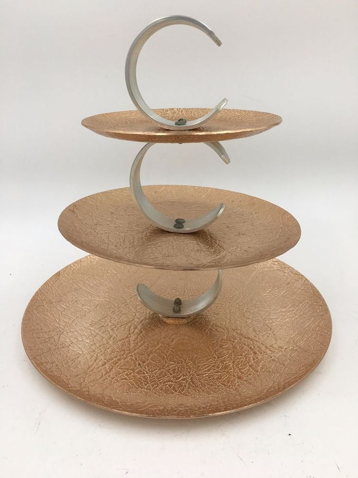 Vintage Two Tone Silver Copper Tone Hammered Metal 3-Tier MCM Serving Party Tray #Unknown