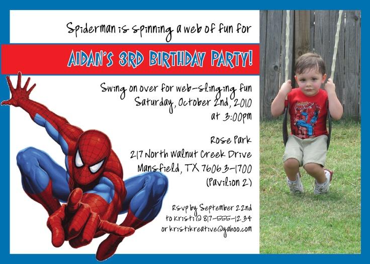 spiderman 7th birthday invitation
