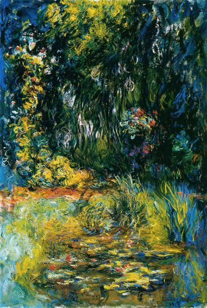 Water Lily Pond, 1918 by Claude Monet. Impressionism. flower painting