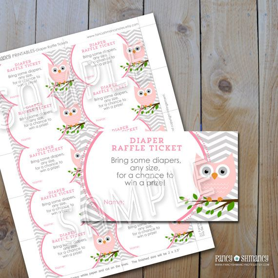 Owl Diaper Raffle Ticket/ Instant Download / Printable Raffle Ticket for a Baby Shower / Pink Owl Grey Chevron/ Printable PDF 7850