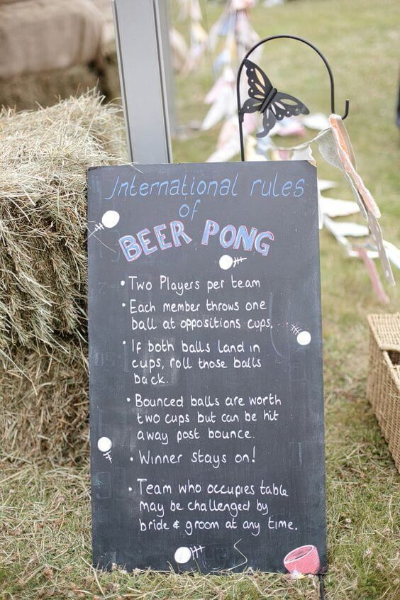 How about a game of beer pong during your wedding drinks reception to kick the party off?! We love when couples introduce wedding games and lawn games into their big day, it's just one more way to entertain guests and make your celebration super fun! Find out more ways at http://www.mrs2be.ie/little-extras-wedding-guest-love-ideas/