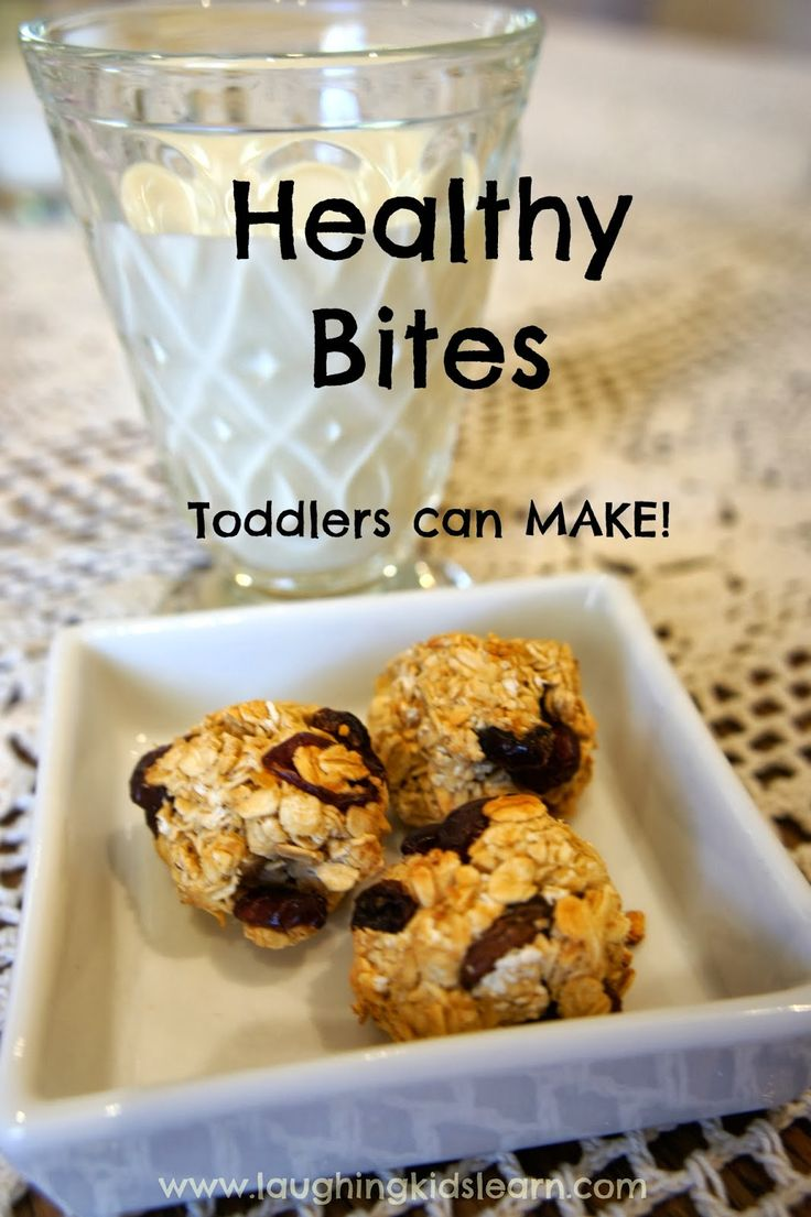 Healthy bites recipe that toddlers can make themselves. Laughing Kids Learn ~ used fruit/veggie puree pouch, pressed mix firmly into mini muffin pan, 1/8 tsp maple syrup on top for sweetness and hold. Very dense, very good!