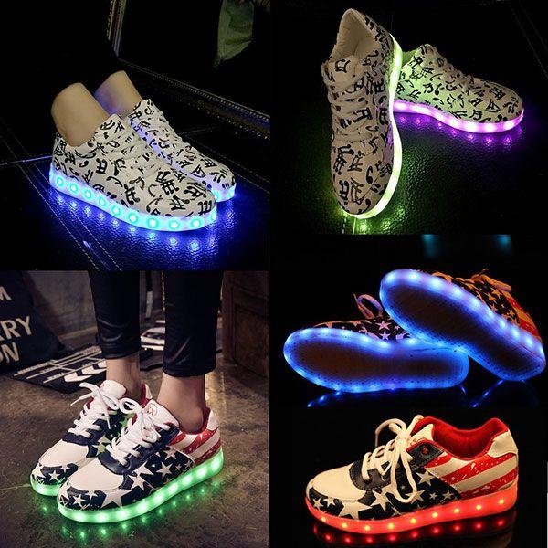 great deals cheap price Autumn Winter 7 Colors LED Luminous Shoes Men Women Light Up Casual Shoes USB Charging Light Shoes Loves Multi Color Glowing Flat Shoes discount low cost ebay sale online 5X76kpt