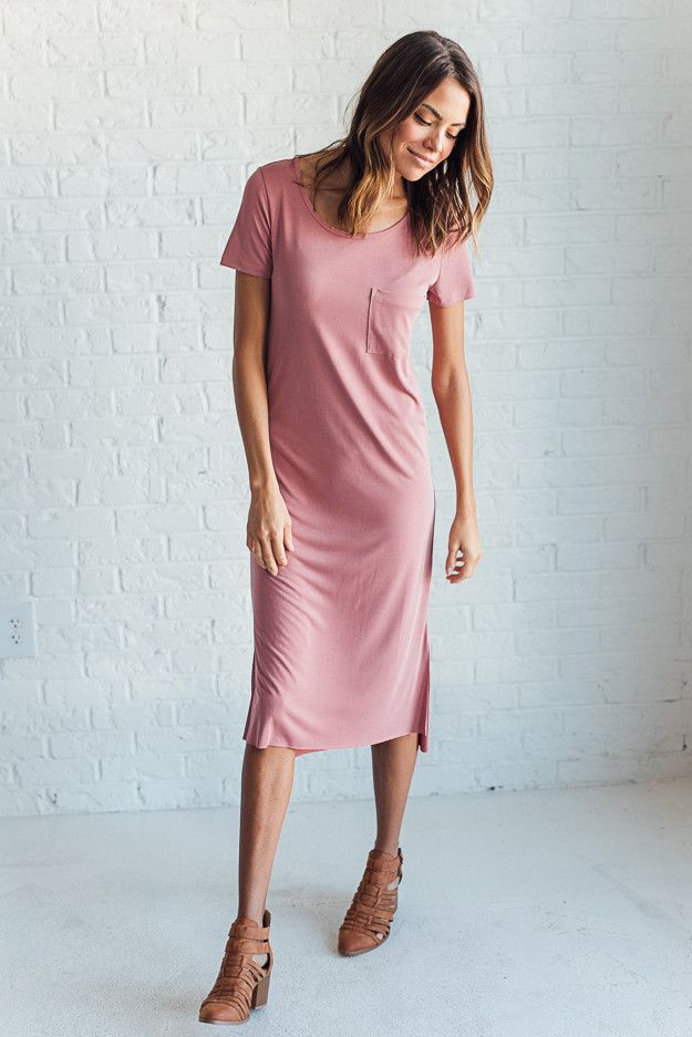 DETAILS: - Short sleeve dress with pocket - Made of super soft Sandwash Modal - Fabric Content: 64% Modal, 36% Polyester - Model is wearing size Small MEASUREMENTS: - Bust: S= 35 in, M= 36 in, L= 39 i