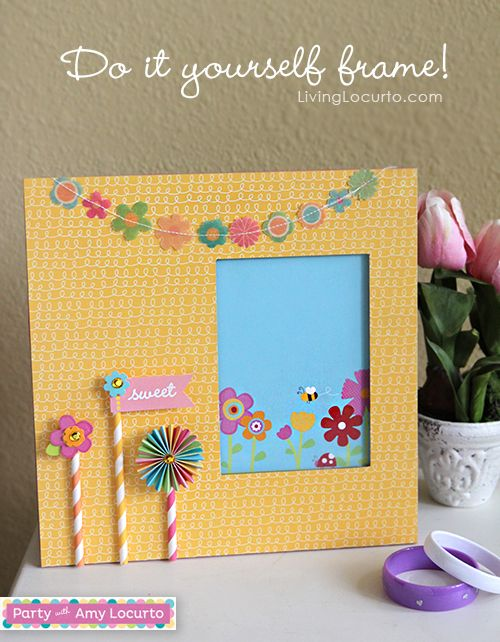 Easy DIY Frame made with Party with Amy Locurto Scrapbook Collection. LivingLocurto.com #scrapbooking #craft