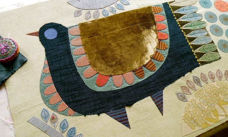 NANCY NICHOLSON - Pigeon embroidery - start of process, cutting & laying out fabrics