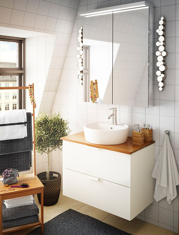 Bejewel your bathroom with IKEA SÖDERSVIK lighting - dimmable LED lighting inspired by a classic pearl necklace.