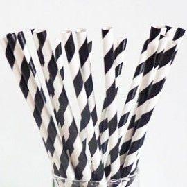 retro papieren rietjes Black & White