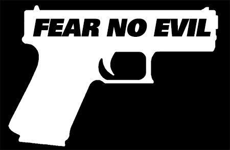 """FEAR NO EVIL"",.40 caliber,Pistol,Hand Gun,,G40 great for Glock Enthusiasts. #TheVinylShop"