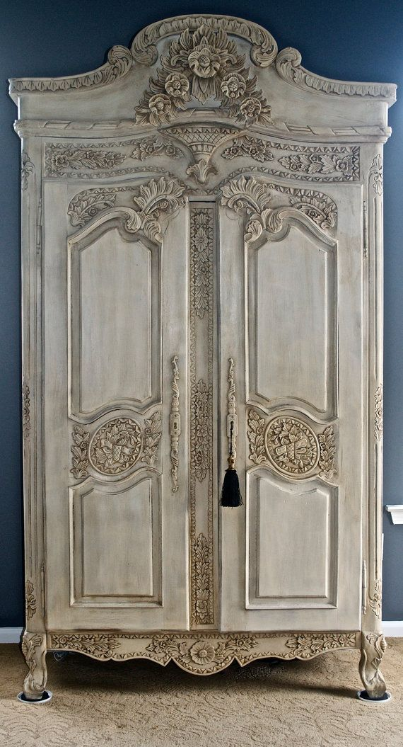 Stunning Antique Armoire Shabby Chic hand Painted Wardrobe Linen Closet