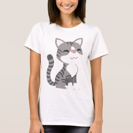 Cute Smiling Gray Tabby Cat T-Shirt #cat #cats #kitten #catproducts