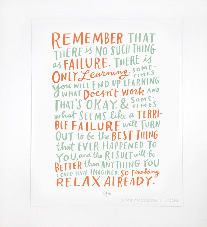 Inspirational art prints for grads: Thoughts On Failure Print from Emily McDowell Studio