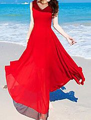 Mujer+Gasa+Corte+Swing+Vestido+Casual/Diario+Simple,Un+Color+Escote+en+Pico+Maxi+Sin+Mangas+Rojo+Poliéster+Verano+Tiro+Medio+Rígido+Medio+–+CLP+$+8.438.987