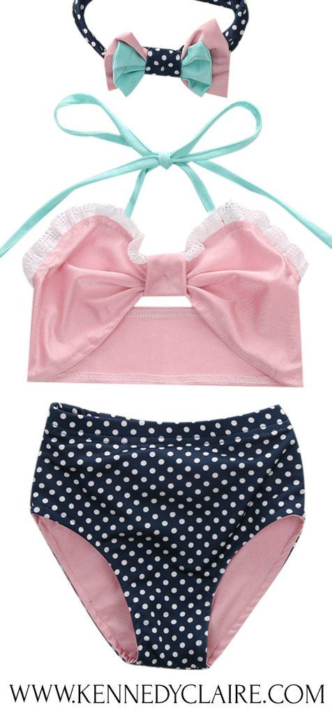 49d0bd23c6f2 Pink Baby Girl Swimsuit Toddler Bikini Baby Girl Summer Fashion Outfit!  Trendy Baby Girl Clothes and Toddler Outfits for summer