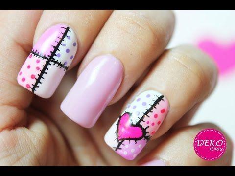 Decoracion de uñas San Valentin Patchwork / Saint Valentin Nail art - YouTube