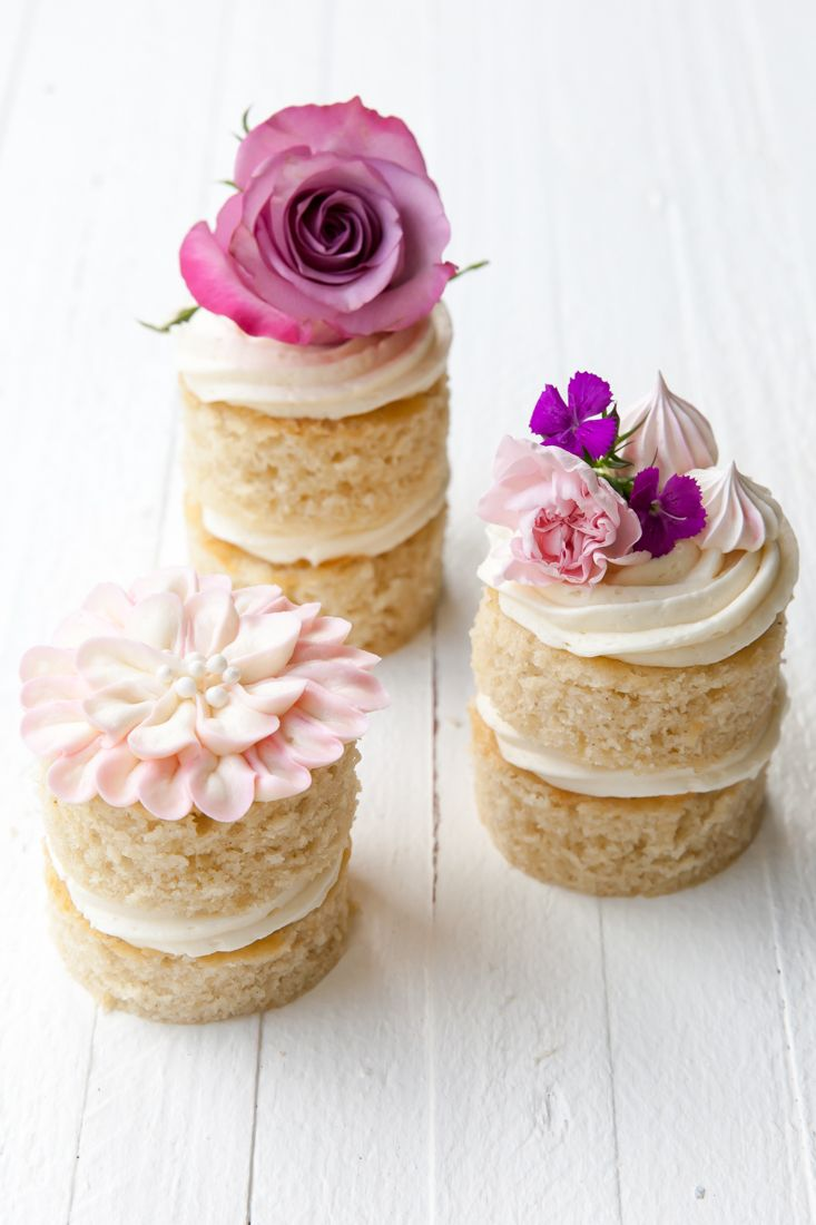 How to assemble and decorate mini layer cakes made from a sheet cake!  The countdown until Mother's Day is officially on!!  If you still need a  last-minute gift or dessert recipe, then this is the recipe for.  Made from  a simple SHEET CAKE, these little baby cakes are so cute and quick to put