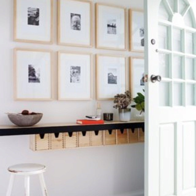 Another great idea for a narrow hallway. This is a shelf at counter height.