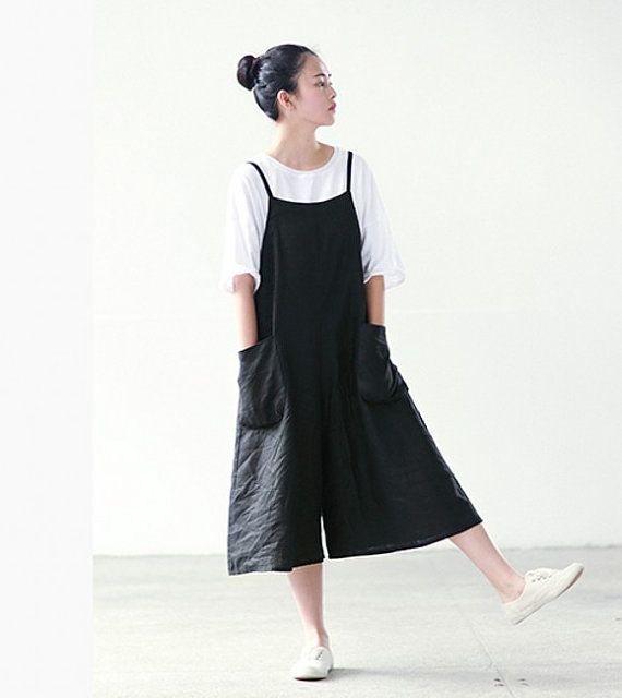 black braces pants women wide leg linen summer pants by ideacloth, $58.00