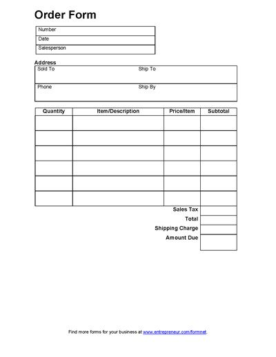 Free printable order form for sales of merchandise. Basic sales order form