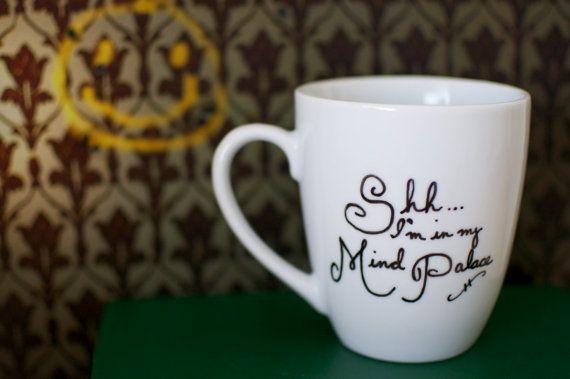 Sherlock Mind Palace Hand Painted Mug by abirdinthehand on Etsy, $14.00