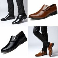 Wish | Men's Casual Leather Business Leather Business Suit British Pointed Shoes.( Size:6.5-10)