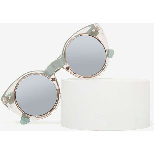 Cool Cat Clear Shades (€18) ❤ liked on Polyvore featuring accessories, eyewear, sunglasses, nasty gal, clear, vintage circle sunglasses, clear lens glasses, circle lens sunglasses, cat sunglasses and fake sunglasses